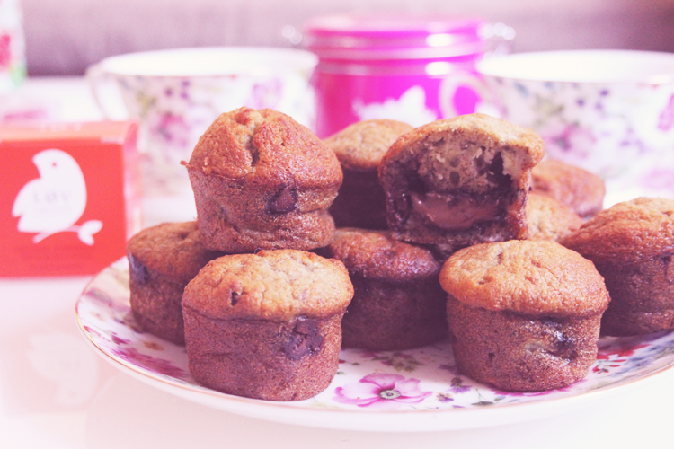 photo muffins banane nutella recette dessert