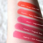 SWATCH_TROPICAL PINK CLARINS_ JUICY CLEMENTINE_IMPASSIONED MAC_MAKE UP FOR EVER ROUGE ARTIST INTENSE 40