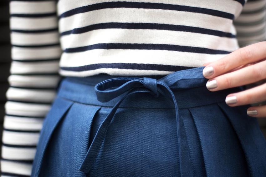 co-création jupe longue matière jean petit noeud