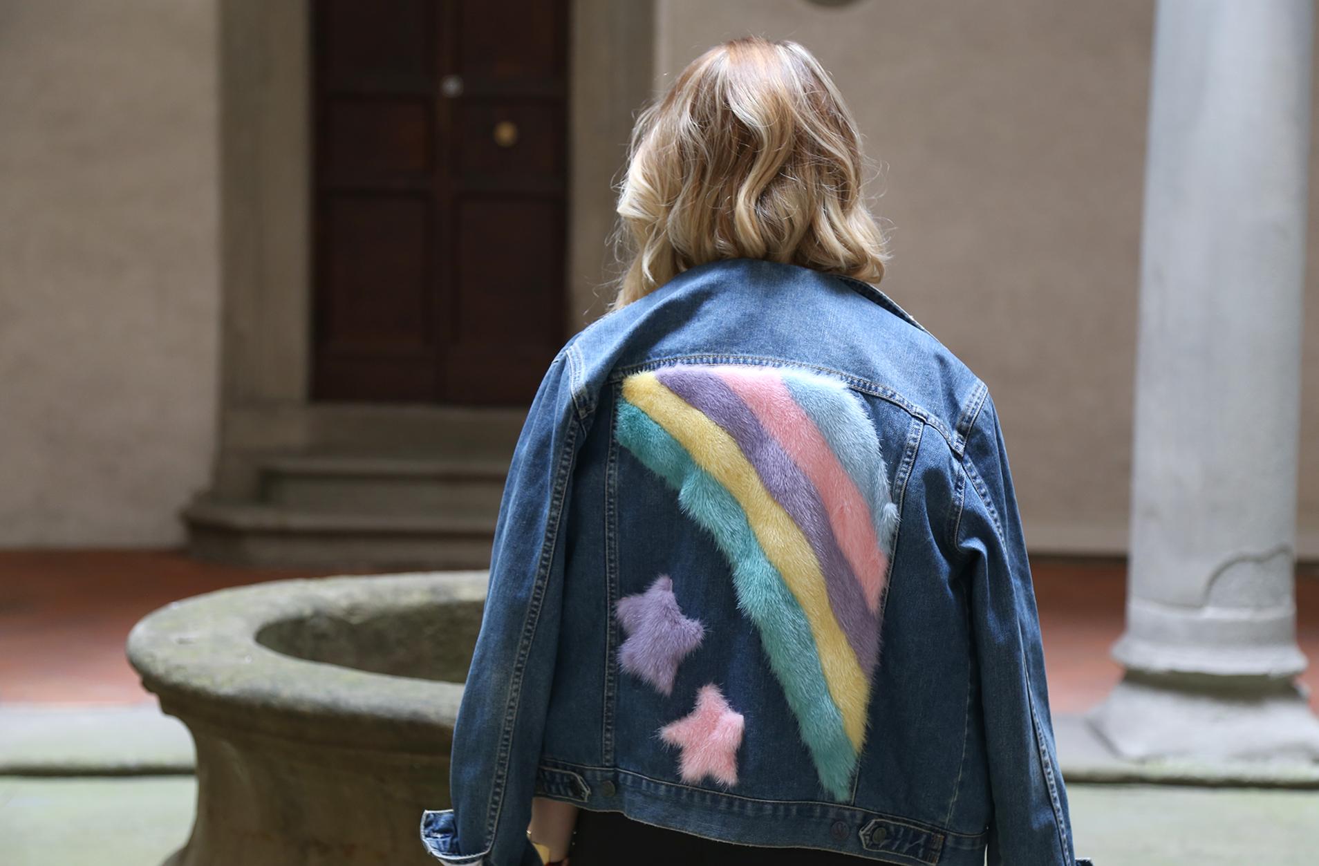 veste en jean Simonetta Ravizza rainbow