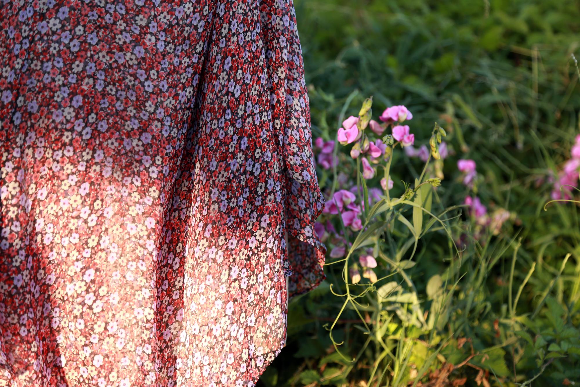 robe sézane fleurs rouge tissus longue été