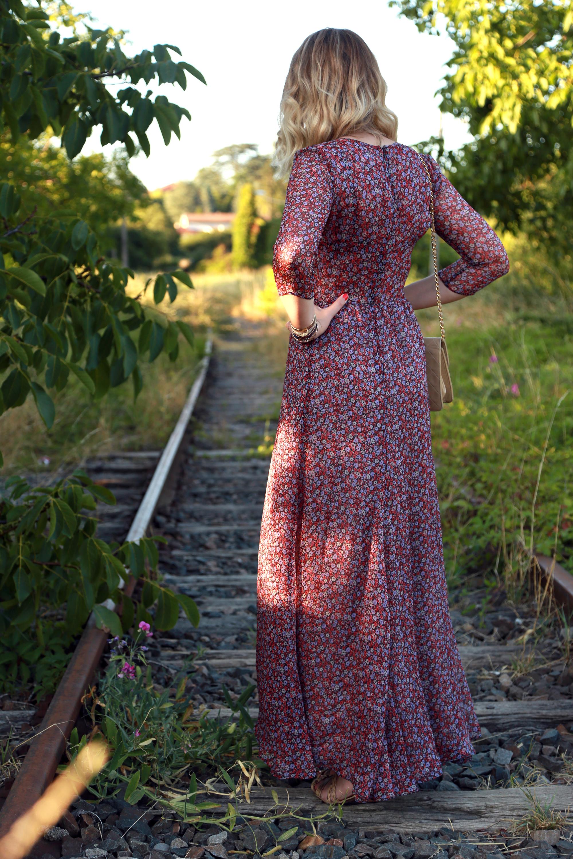 robe longue fleurs rose rouge cézane