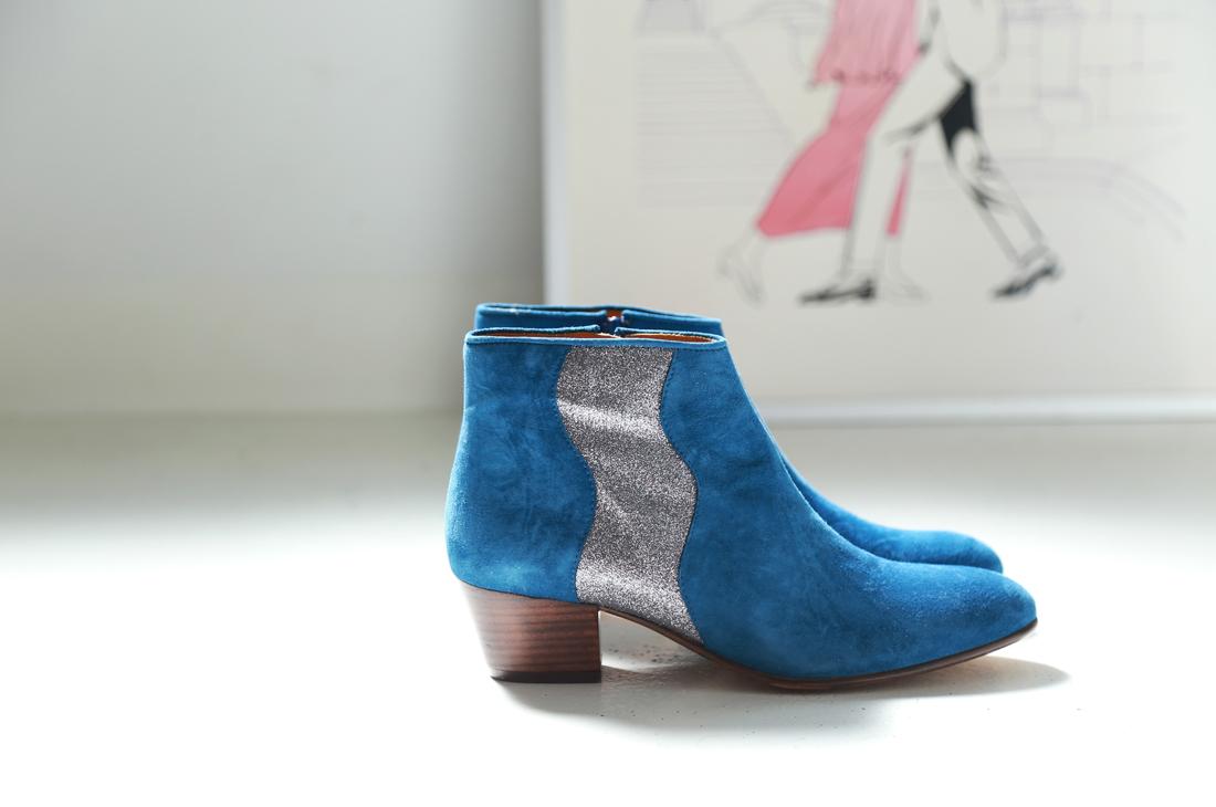 Eponyme royal boots bottes bleu azur velour paillettes